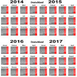 Calendar for 2014 2015 2016 2017 year Royalty Free Stock Photography