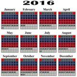 Calendar for 2016 year. stock illustration