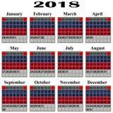 Calendar for 2018 year. stock illustration