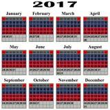 Calendar for 2017 year. royalty free illustration