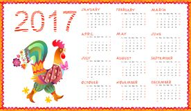 Calendar for 2017 year with fairy rooster Stock Images