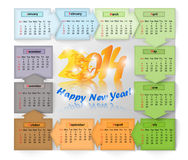 Calendar for 2014 - year of the Fiery Horse Stock Images