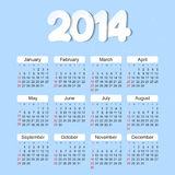 Calendar 2014 year Royalty Free Stock Photography