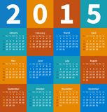 Calendar 2015 year in flat color Stock Image
