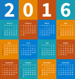 Calendar 2016 year in flat color Royalty Free Stock Photography