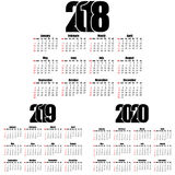 Calendar 2018,2019, 2020 year flat design, simple style. Royalty Free Stock Photography