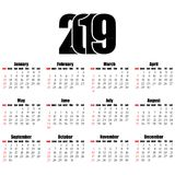 Calendar 2019 year flat design, simple style. Royalty Free Stock Photos