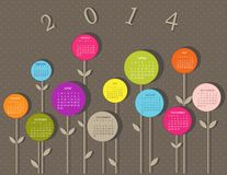 Calendar for 2014 year. With flowers Stock Images