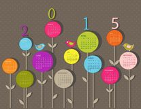 Calendar for 2015 year. With flowers vector illustration