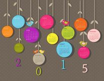 Calendar for 2015 year. With flowers royalty free illustration