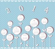 Calendar for 2014 year. With flowers on blue background Vector Illustration
