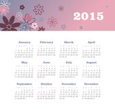 Calendar 2015 year with flowers Stock Image