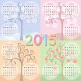 Calendar 2015 Year. Four seasons image. Colorful vector illustration. Easily edited vector format for your project Stock Photos