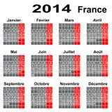 Calendar for 2014 year France. Organizer scheduler year seasonally annuitant plan-chart of green newly royalty free illustration