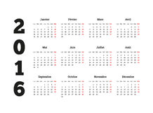 Calendar 2016 year on French language, A4 sheet Royalty Free Stock Photography