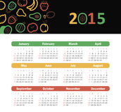 Calendar 2015 year with fruit icons Stock Photo