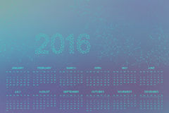 Calendar 2016 year .Geometric background molecule and communication for your design.  stock illustration