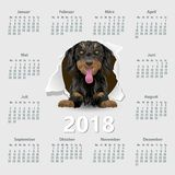 Calendar 2018 year German. Week starting on Monday. Calendar 2018 year with dog German. Week starting on Monday. eps Stock Photography