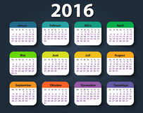 Calendar 2016 year German. Week starting on Monday Royalty Free Stock Photography