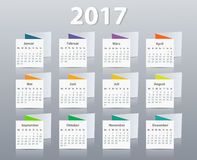 Calendar 2017 year German. Week starting on Monday. Eps Royalty Free Stock Image