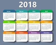 Calendar 2018 year German. Week starting on Monday Stock Photo