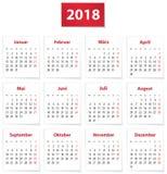2018 German calendar Royalty Free Stock Images