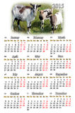 Calendar for 2015 year with goats. Beautiful calendar for 2015 year with goats on the pasture royalty free illustration