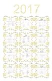Calendar for 2017 year with gold flowers on white background. Week starts on sunday. Vector illustration Stock Images