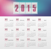 Calendar 2015 year with gradient. Vector, eps 10 Royalty Free Stock Images