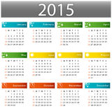 Calendar for 2015 year. Graphic illustration royalty free illustration
