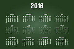 Calendar Of Year 2016. On Green Chalkboard Stock Image