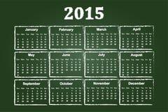 Calendar Of Year 2015. On Green Chalkboard Royalty Free Stock Photo