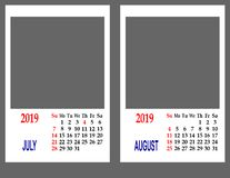 Calendar for the year 2019. royalty free stock photography