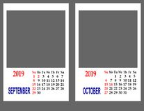 Calendar for the year 2019. royalty free stock image