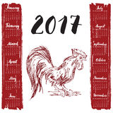 Calendar 2017 Year, With Hand Drawn Red rooster. Month Lettering, Week Starts Monday. Vector illustration. Calendar 2017 Year, With Hand Drawn Red rooster Stock Image