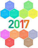 Calendar for 2017 year. Hexagon calendar for 2017 year. Colorful vector Stock Illustration