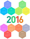 Calendar for 2016 year. Hexagon calendar for 2016 year. Colorful vector Vector Illustration