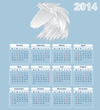 Calendar for 2014 year. Calendar for 2014. year of the horse stock illustration