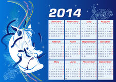 Calendar for 2014. The year of the horse Stock Illustration