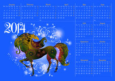 Calendar for 2014_. Calendar for 2014, the year of the horse_ Royalty Free Stock Photography
