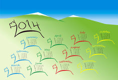 2014 Calendar Year of Horse. Calendar as Downloaded herd of horses in style of primitive cave paintings on the background stylized landscape and mountain peaks Stock Photo