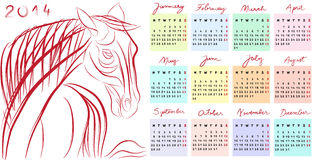 Calendar 2014 horse year. Hand drawn illustration of 2014, the year of the horse calendar with doodle text Stock Photo