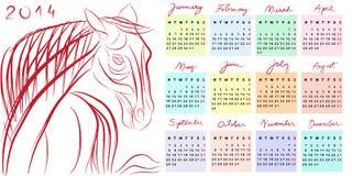 Calendar 2014 horse year Stock Photo