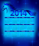 Calendar 2014, year of the Horse,  illustration. Running horse Royalty Free Stock Photo