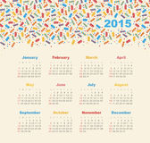 Calendar 2015 year with ice cream. Vector, eps 10 stock illustration