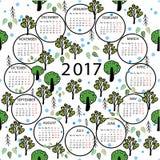 Calendar 2017 year illustration abstract background. Stock Photos