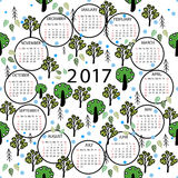 Calendar 2017 year illustration abstract background. Royalty Free Stock Photos