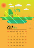 Calendar for 2017 year. 2017 Calendar with illustration of season Stock Image