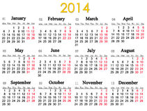 Calendar for 2014 year Royalty Free Stock Photos
