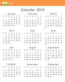 Calendar 2019 year for India country vector illustration